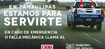 EN TAMAULIPAS ESTAMOS PARA AUXILIARTE, POLICÍA ESTATAL DE AUXILIO CARRETERO 911 089