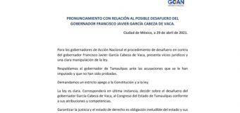 PRONUNCIAMIENTO CON RELACIÓN AL POSIBLE DESAFUERO DEL GOBERNADOR FRANCISCO JAVIER GARCÍA CABEZA DE VACA.