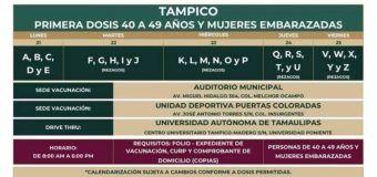 Inicia el lunes 21 de junio la vacunación para personas de 40-49 años en Tampico.